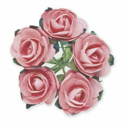 144 PINK PAPER TEA ROSES ON STEMS FLOWERS 15mm CRAFT WEDDING BOUQUET BABY SHOWER