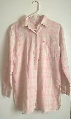 336f4dd38f54e VICTORIAS SECRET COTTON Sleep Shirt Size Medium Pink & White Stripes ...