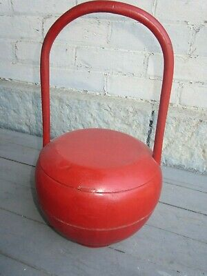 Vintage Chinese Red Lacquer Wooden Basket - Nice