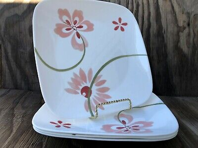 Corelle Dishes Vitrelle Square Pretty Pink Set Of 3 Large Dinner Plates