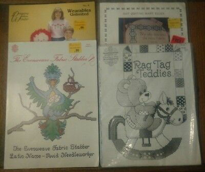 lot of 50+ vtg cross stitch patterns evenweave wearables unlimited