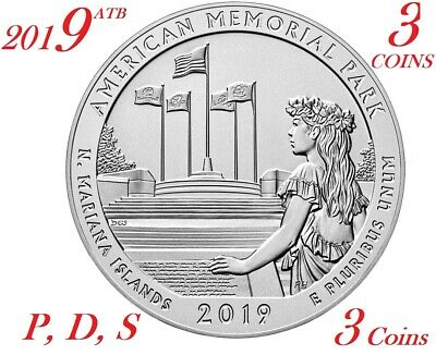 2019 P D S 25C American Memorial Park 3-coin set America the Beautiful Quarter