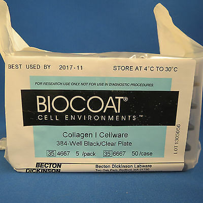 Pack/5 Corning BioCoat Collagen I 384 Well Black/Clear FB  TC Microplates 354667