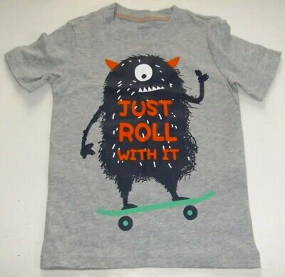 """NWT Carter's Boys 3T Funny Monster Skate Board """"Just Roll With It"""" Short Sleeves"""