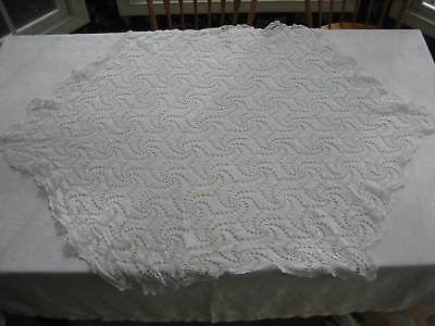 "Vintage White String Crochet Hexagon Tablecloth - Scallop Edges 54"" X 40"""