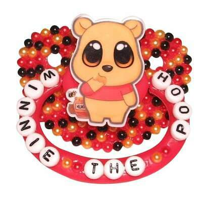 """Baby Bear Pacis Adult Pacifier """"Winnie the Pooh"""" Red Adult Paci (DDLG/ABDL)"""
