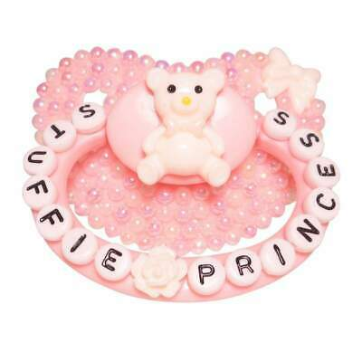 """DDLG//ABDL Baby Bear Pacis Adult Pacifier /""""Stuffie Princess/"""" Pink Adult Paci"""