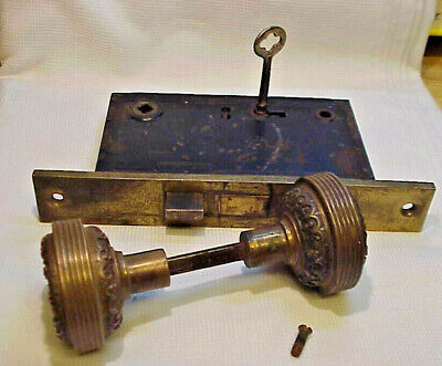ANTIQUE SOLID BRONZE VICTORIAN DOOR KNOB SET w MORTISE LOCK MECH. SKELETON KEY