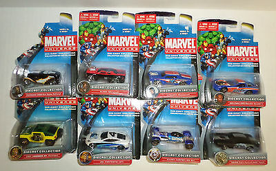 Marvel Universe Diecast Car Collection Lot of 8 Blade Cyclops Rhino Punisher