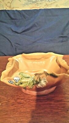 "7 Weller Pottery In pattern ""Roba"" 7"" Square Planter Brown with Blue Flowers MK"