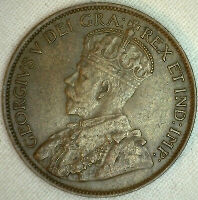 1913 Copper Canadian Large Cent Coin 1-Cent Canada XF K13