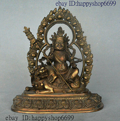 Ancient Chinese Tibetan Buddhism Temple Bronze Yellow Jambhala Wealth God Statue