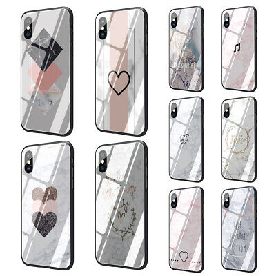 Luxury marble rose gold marble tempered glass TPU case for iphone XS Max XR X 8
