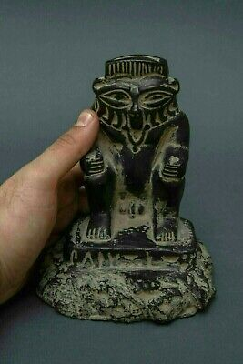 Rare,EGYPTIAN ANTIQUES EGYPTS TATUE GODS Bes Large Black STONE 664-332 BC