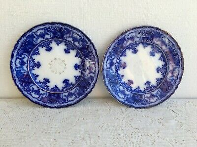 """2 Maddock & Sons Royal Vitrous 'DAINTY' Flow Blue 8"""" Luncheon Plates (390)"""