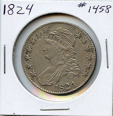 1824 50C Capped Bust Silver Half Dollar. Almost Uncirculated. Lot #1136