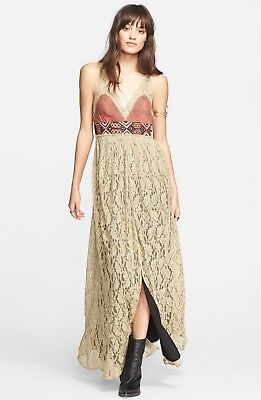fbfb0a8478a FREE PEOPLE Brand New CRUSHED GOLD LACE DRESS Size 6 (SIX) Color MULTICOLOR