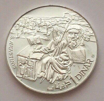 1969 Tunisia Proof Silver 1 Dinar St. Augustine Coin Free Shipping