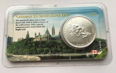 1999 & 2000 Canada 1 Oz Silver Maple Leaf $5 Coin Littleton Coin Company
