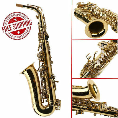 2018 New Professional Gold School Band Student Eb Alto Saxophone Sax with Case