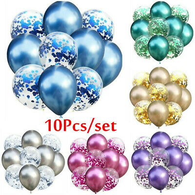 10pcs 12inch Mixed Chrome Confetti Balloons Birthday Party Decor Metallic
