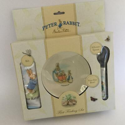 Peter Rabbit First Feeding Set Bowl Bib & Spoon Beatrix Potter Melamine