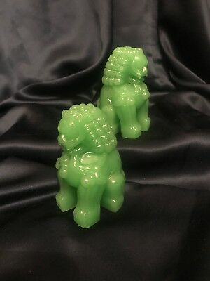 FAB! Vintage Republic of China Pair Foo Dog Peking Jade Green Glass Figurine