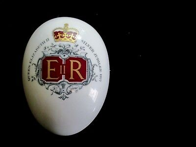 Egg Shaped Trinket Dish With Cover by Hammersley Silver Jubilee 1977