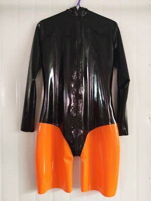 Latex Rubber Gummi Black Orange Catsuit Swim Suit Handmade Unisex Size S-XXL
