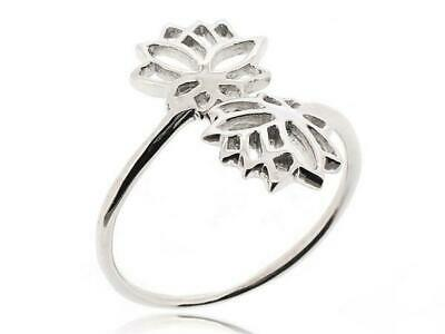 Women Double Lotus Flower Ring 925 Sterling Silver Ring Size5-12 Nature Jewelry