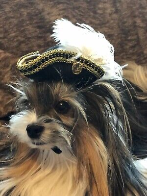 Halloween Dog Cat Hat Pirate Renesains Colonial Vicrorian XXS-XS-S Gold/White