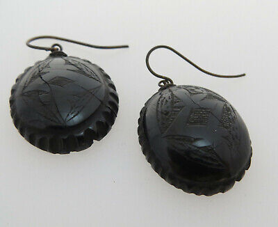 Black Earrings With Carved Detail- As Found - Victorian Mourning / Jet Interest?
