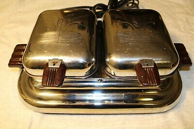Vintage General Electric Chrome Waffle Maker Iron 119W8 Art Deco Wheat Pattern