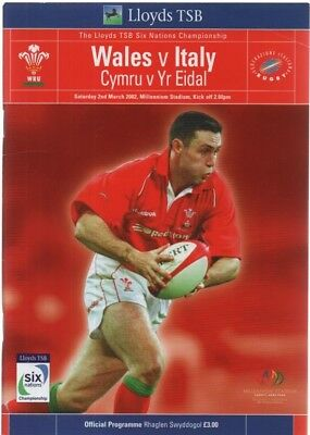 Welsh Rugby Union 6 Nations - Wales  v Italy 02/03/2002 programme