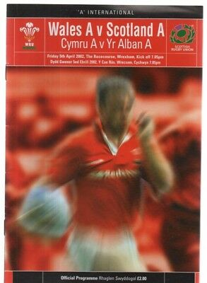 Welsh Rugby Union - Wales A v Scotland A 5/4/2002 programme