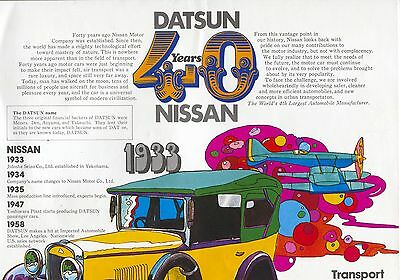 Datsun/Nissan - 40 Years Outfold Range brochure/prospekt/folder English 1973