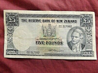 NEW ZEALAND Five Pound Note R. N. Fleming No Security Thread E2 517992