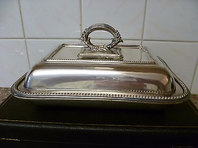 ANTIQUE,LIDDED RECTANGULAR,SILVER PLATED SERVING DISH. TUREEN 'JAMES DIXON Sons'