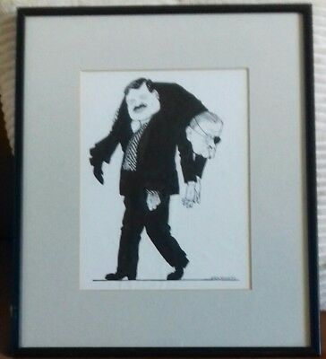 John Minnion - Original Pen And Ink Drawing. Signed. Framed.
