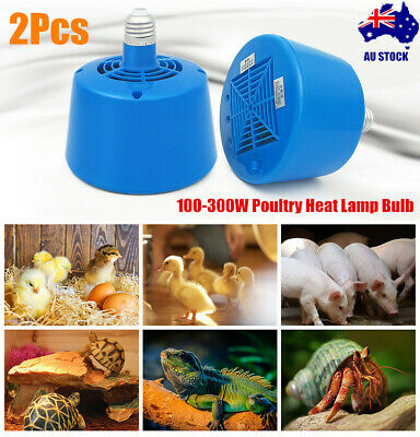 2x100-300W E27 Poultry Heat Lamp Bulb Warm Light For Brooder Reptile Chicken Pet