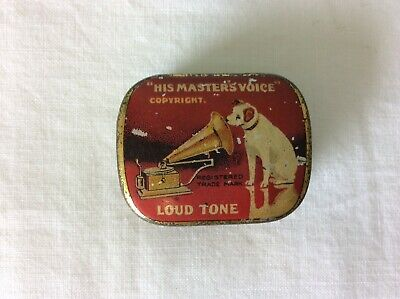 HIS MASTERS VOICE RED & GOLD TONE TIN FILLED WITH RECORD NEEDLES (ref td) 4191