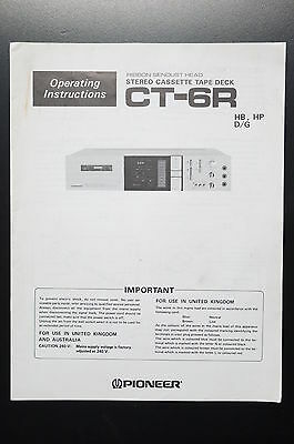 PIONEER CT-6R Bedienungsanleitung/User-/Owner`s Manual!
