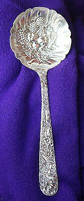 Antique Kirk & Son large (9 1/4) sterling silver repousse casserole, berry spoon