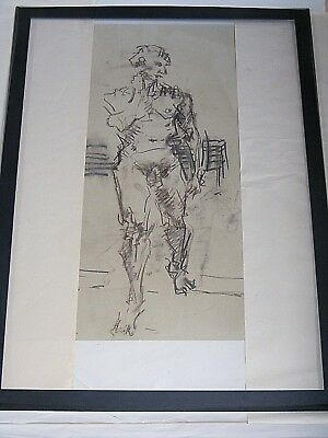 Figure life drawing nude, expressive charcoal / paper, man standing,  A2 size @