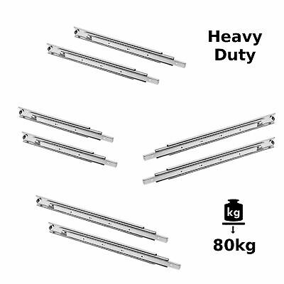 HEAVY DUTY Drawer Runners Slides Full Extension All Sizes 80kg max, H53mm Pair
