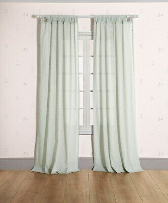 NEW Mamas and Papas Green Jacquard Nursery Full Length Tab Top Voile Curtains