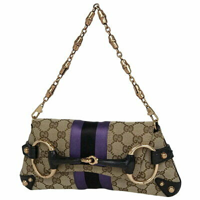 bde8569caa2e GUCCI Shoulder Bag GG Pattern Horsebit GG Canvas Leather Authentic Used F S