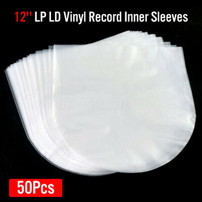 """50Pcs Plastic Inner Clear Cover Sleeve for 12"""" LP LD Vinyl Record Storage AU"""