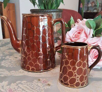 Art Deco circa 1926 PRICE BROTHERS Ltd BERSLEM ENGLAND Coffee Pot & Creamer Jug