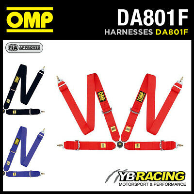 "DA801F OMP 801F RACING HARNESS HANS FRIENDLY 4-POINT with 3"" BELTS - 3 COLOURS"